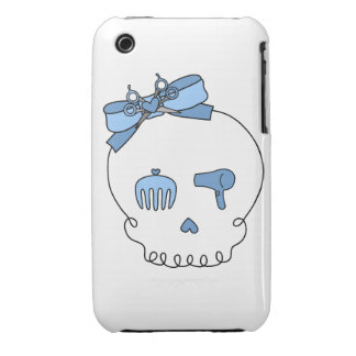 Hair Accessory Skull (Bow Detail - Blue) Case-Mate iPhone 3 Case