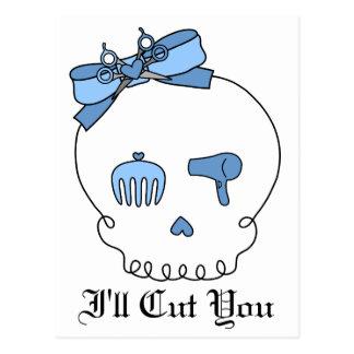 Hair Accessory Skull (Bow Detail - Blue) Postcard