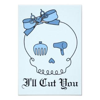 Hair Accessory Skull (Bow Detail - Blue Version 2) 3.5x5 Paper Invitation Card