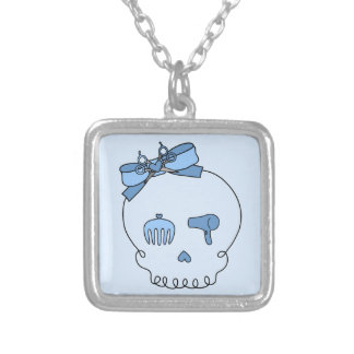 Hair Accessory Skull (Bow Detail - Blue Version 2) Necklace