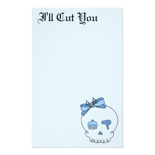Hair Accessory Skull (Bow Detail - Blue Version 2) Stationery