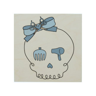 Hair Accessory Skull (Bow Detail - Blue Version 2) Wood Canvas