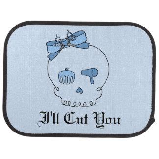 Hair Accessory Skull (Bow Detail Blue w/ Text 4) Car Floor Mat