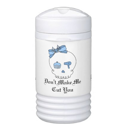 Hair Accessory Skull (Bow Detail Blue w/ Text) Igloo Beverage Cooler