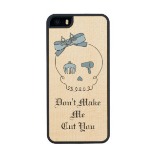 Hair Accessory Skull (Bow Detail Blue w/ Text) Carved® Maple iPhone 5 Case