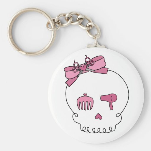 Hair Accessory Skull (Bow Detail) Basic Round Button Keychain