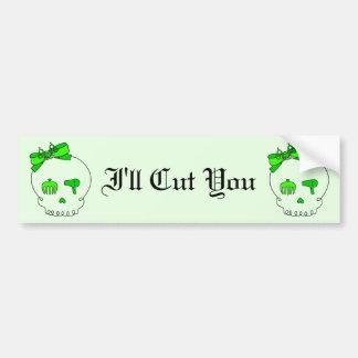 Hair Accessory Skull Bow Detail - Lime Green 2 Bumper Sticker