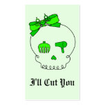 Hair Accessory Skull (Bow Detail - Lime Green #2) Business Cards
