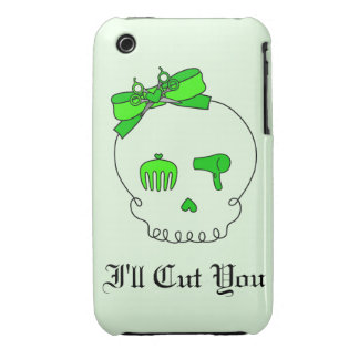 Hair Accessory Skull (Bow Detail - Lime Green #2) iPhone 3 Case