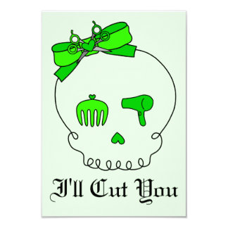Hair Accessory Skull (Bow Detail - Lime Green #2) 3.5x5 Paper Invitation Card