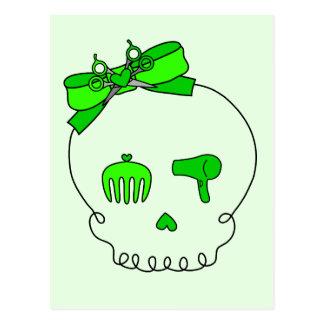 Hair Accessory Skull (Bow Detail - Lime Green #2) Postcard