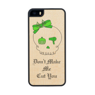 Hair Accessory Skull (Bow Detail Lime Green #3) Carved® Maple iPhone 5 Case