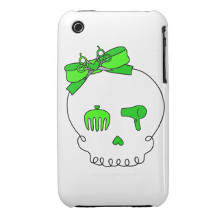 Hair Accessory Skull (Bow Detail - Lime Green) iPhone 3 Cases