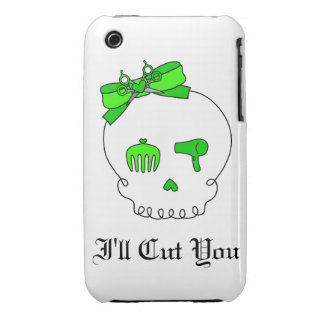 Hair Accessory Skull (Bow Detail - Lime Green) iPhone 3 Covers