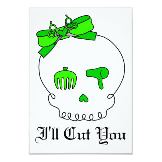 Hair Accessory Skull (Bow Detail - Lime Green) 3.5x5 Paper Invitation Card