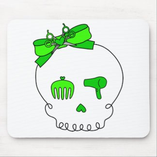 Hair Accessory Skull (Bow Detail - Lime Green) Mouse Pad