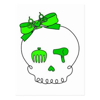 Hair Accessory Skull (Bow Detail - Lime Green) Postcard