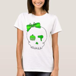Hair Accessory Skull (Bow Detail - Lime Green) T-Shirt