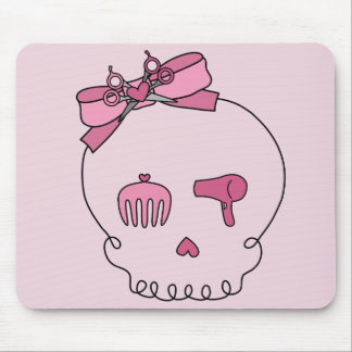 Hair Accessory Skull (Bow Detail Pink Background) Mouse Pad