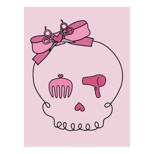 Hair Accessory Skull (Bow Detail Pink Background) Postcard