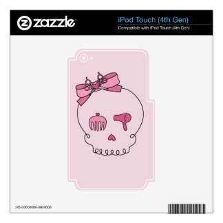 Hair Accessory Skull (Bow Detail Pink Background) Decal For iPod Touch 4G