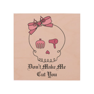 Hair Accessory Skull (Bow Detail Pink Background) Wood Print