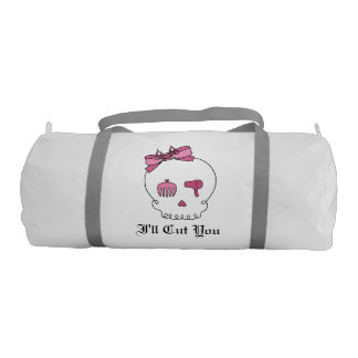 Hair Accessory Skull (Bow Detail Pink w/ Text 3) Gym Bag