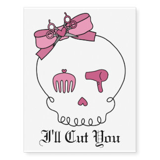 Hair Accessory Skull (Bow Detail Pink w/ Text 3) Temporary Tattoos