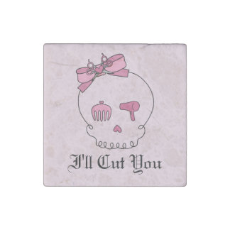 Hair Accessory Skull (Bow Detail Pink w/ Text 4) Stone Magnet
