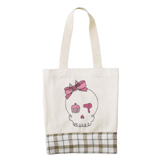 Hair Accessory Skull (Bow Detail Pink) Zazzle HEART Tote Bag