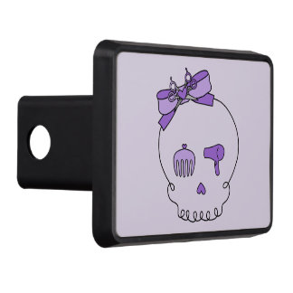Hair Accessory Skull (Bow Detail Purple #2) Trailer Hitch Cover