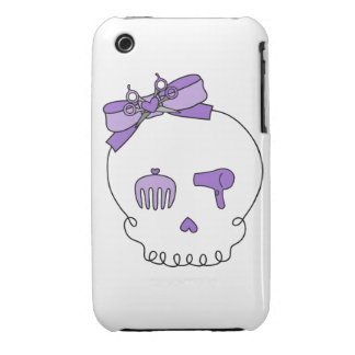Hair Accessory Skull (Bow Detail - Purple) Case-Mate iPhone 3 Case