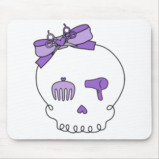 Hair Accessory Skull (Bow Detail - Purple) Mouse Pad