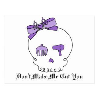 Hair Accessory Skull (Bow Detail - Purple) Postcard