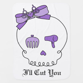 Hair Accessory Skull (Bow Detail Purple) Receiving Blanket