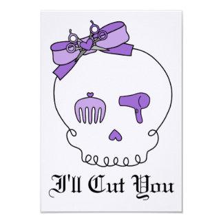 Hair Accessory Skull (Bow Detail - Purple w/ Back) 3.5x5 Paper Invitation Card