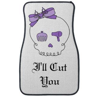 Hair Accessory Skull (Bow Detail Purple w/ Text 3) Car Mat