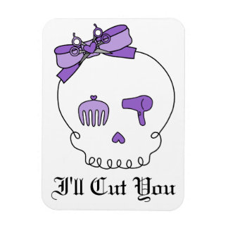 Hair Accessory Skull (Bow Detail Purple w/ Text 3) Magnet