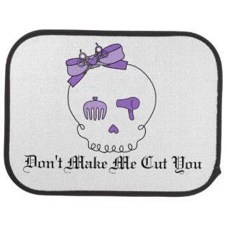 Hair Accessory Skull (Bow Detail Purple w/ Text) Car Floor Mat