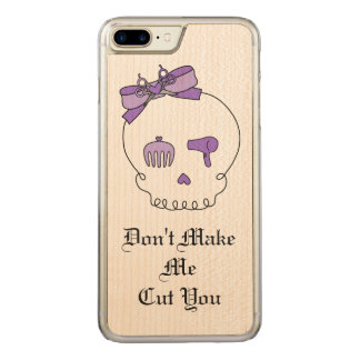 Hair Accessory Skull (Bow Detail Purple w/ Text) Carved iPhone 7 Plus Case