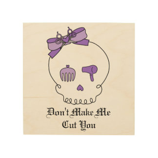Hair Accessory Skull (Bow Detail Purple) Wood Print