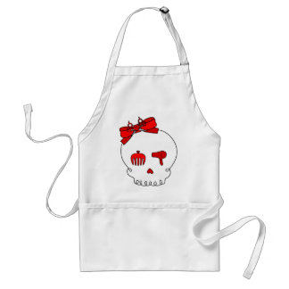 Hair Accessory Skull (Bow Detail - Red) Adult Apron