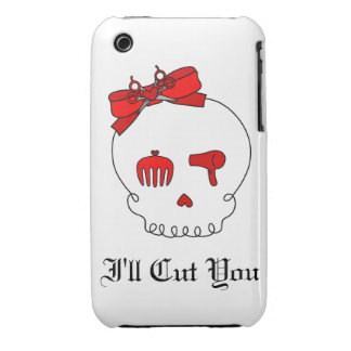 Hair Accessory Skull (Bow Detail - Red) iPhone 3 Case-Mate Cases
