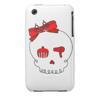 Hair Accessory Skull (Bow Detail - Red) iPhone 3 Case-Mate Case