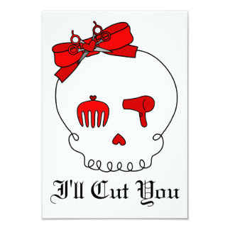 Hair Accessory Skull (Bow Detail - Red) 3.5x5 Paper Invitation Card