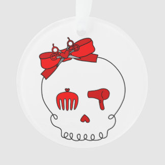 Hair Accessory Skull (Bow Detail - Red) Ornament