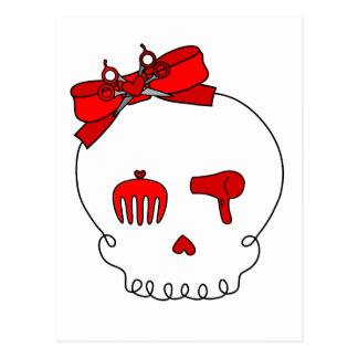 Hair Accessory Skull (Bow Detail - Red) Postcard
