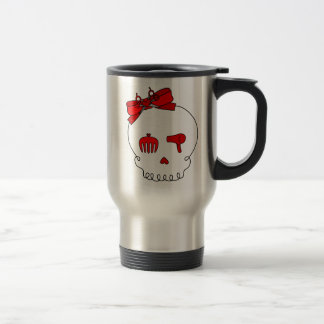 Hair Accessory Skull (Bow Detail - Red) Travel Mug