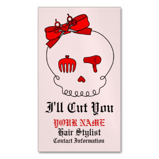 Hair Accessory Skull (Bow Detail Red w/ Text 4) Business Card Magnet