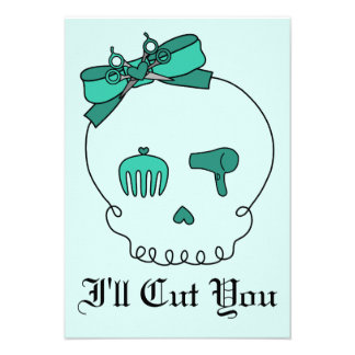 Hair Accessory Skull (Bow Detail - Turquoise #2) Personalized Invitation